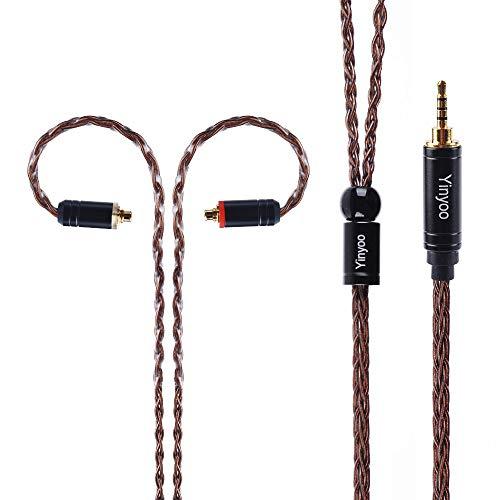 Cable de reemplazo de cobre bañado en plata con actualización de 8 núcleos, cable balanceado Yinyoo de 2.5 mm MMCX Cable de auricular desmontable para Shure 846 535 215 LZA4 A5(Enchufe de 2.5mm)