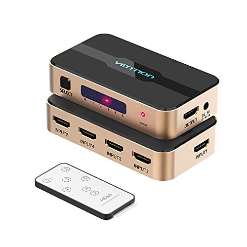 VENTION Conmutador HDMI, conmutador divisor HDMI 5 entradas 1 salida HDMI Switcher 5X1 con control remoto IR para XBOX 360 PS4/3 Smart Android HDTV 4K * 2K 5 puertos HDMI Adaptador