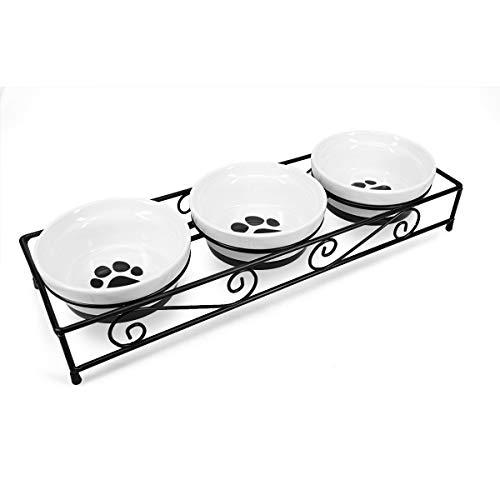 Navaris 3X Fressnapf aus Keramik mit Metall Ständer - Katzennapf Hundenapf 3 Stück im Set - Erhöhter Futternapf Katze Hund - Napf in Schwarz Weiß