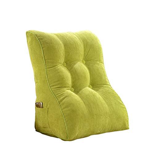 J-Kissen Lesekissen, The Perfect Sofakissen, Keilkissen für Bett und Couch, Rückenlehne, Lendenkissen, herausnehmbar (Farbe : Grün, größe : 60x55x30cm)