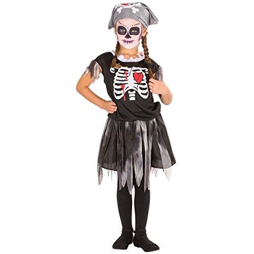 TecTake dressforfun Süßes Kinder Girlie Piraten Skelett Kostüm mit Kopfbedeckung (8-10 Jahre   Nr. 300002)