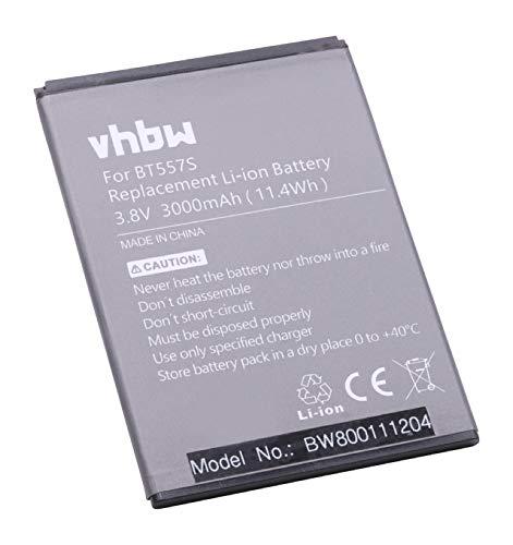 vhbw Li-Polymer Akku 3000mAh (3.8V) kompatibel mit Handy Smartphone Handy Zopo S5570, Speed 7 Plus ZP952 Ersatz für BT557s.