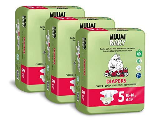 Pañales ecológicos Muumi Baby, talla 5, 10-16 KG, 132 pañales sensibilidad premium paquete mensual