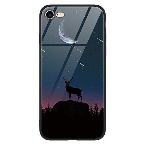 Yoedge iPhone 8 Plus Hülle, Hybrid Schutzhülle [TPU Silikon Bumper + Glas Rückseite] mit Muster Motiv Handyhülle Kratzfeste Hardcase Rückschale Cover für Apple iPhone 7 Plus / 8 Plus, Schaf