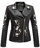 Giolshon Chaquetas de piel sintética para mujer, suave, informal, corto, floral, abrigo de moto 1702021 Negro XL