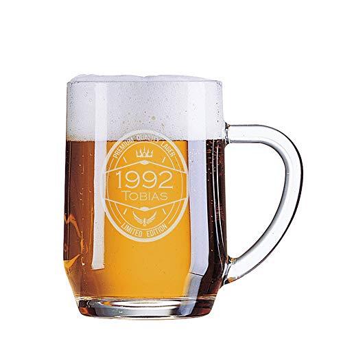 Jarra de cerveza cumpleaños grabada - Año