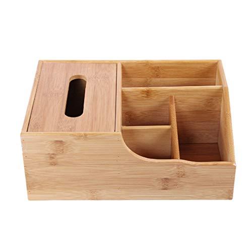 HEALLILY Madera Organizador de Almacenamiento de Escritorio Control Remoto Titular de Caddy 4 Rejilla contenedor Caja de pañuelos de Madera para Oficina en casa