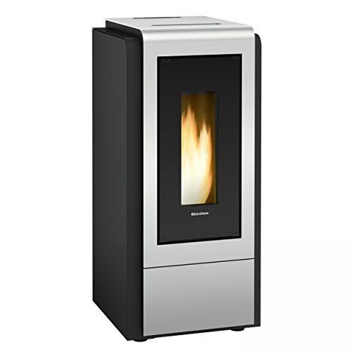 termostufa A Pellet 'Megan Idro Steel' Termo. Bezug aus Stahl lackiert. Doppelt gehärtetem Glas Keramik Innen und Außen. Schublade für Ascheauffangbehälter, Wärmetauscher A Abstrahlwinkel tubiero mit turbolatori. Thermostat-Sicherheit, Pumpe-C