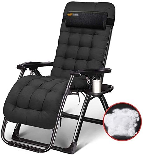 SDK Folding Lounger Chair Outdoor Office Beach Recliner with Cotton Pad Portable Reclining Lawn Chairs Supports 200kg