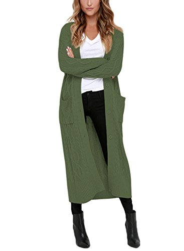 Dokotoo Womens Fashion Casual Winter Casual Button Down Open Front Long Sleeve Chunky Maxi Long Cardigans Sweaters Coat Outerwear Green X-Large