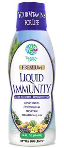 Vegan Liquid Immunity Booster Multivitamin - Powerful Blend of 500% Vitamin C, 300% VIT D3, 100% VIT E, Zinc & Elderberry Juice - The Ultimate Defense for Your Health -98% Absorption Rate -32 Serv