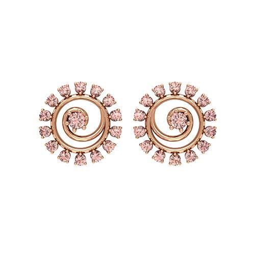 Rosec Jewels - Pendientes en espiral con piedras preciosas de 0,38 quilates, creados en laboratorio, pendientes de morganita, pendientes de tuerca 18K Oro rosa, Par