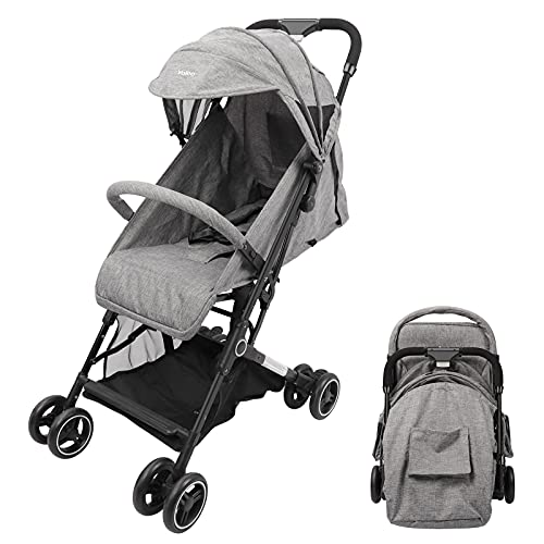 YOLEO Lightweight Stroller, Pushchair with Five-Point Harness, One Hand Foldable Pram, Compact and Folding Travel Buggy (Grey)