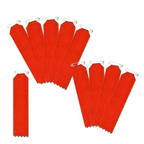 盾型 赤色 10枚入(一枚ビラ)【リボン徽章・胸章】 安全ピン仕様