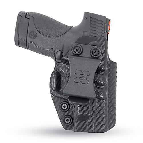 Concealed Carry Iwb Kydex Holster - by Houston | Lined Inside for Strong Retention and Protection | Reinforced Plastic Clip | Lightweight | Fits only S&W M&P Shield 9mm .40 Cal (Carbon Fiber)