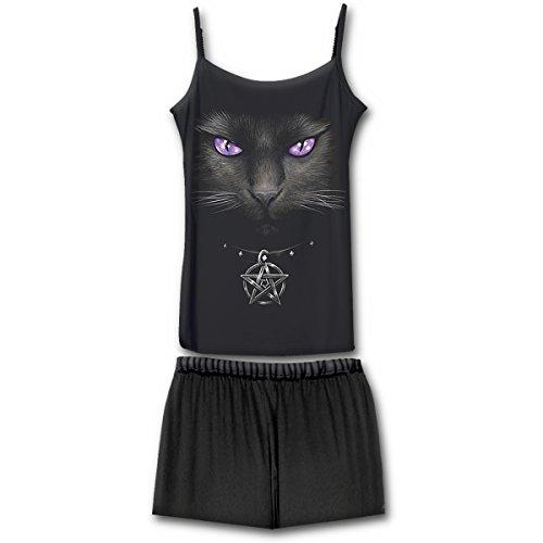 Spiral Damen Bright Eyes-4pc Gothic Pyjama Set Zweiteiliger Schlafanzug, Schwarz (Black & White 008), Medium