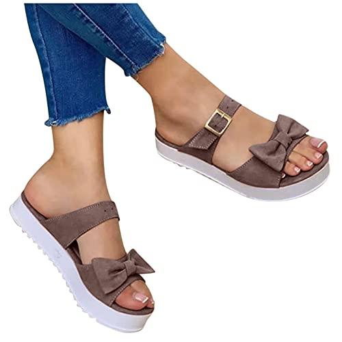 riou Sandalias Mujer Verano 2021 cáñamo Fondo Grueso Sandalias Punta Abierta Cuero Fondo Plano Zapatos Bohemias Romanas Hebilla Zapatillas Vintage Chanclas
