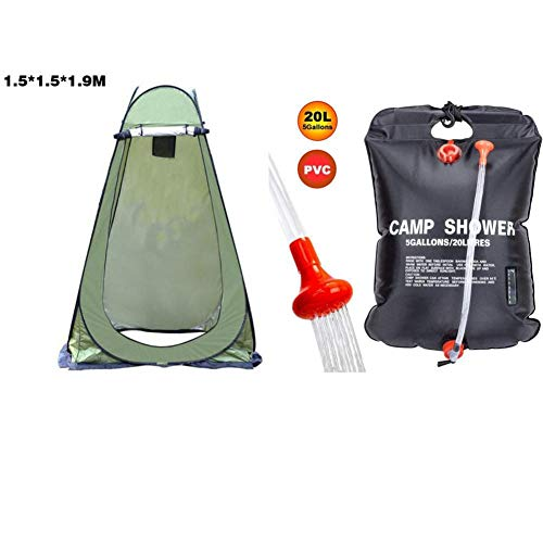 afto mket Camping Toilet Tent + Camping Shower Bag Set, Include Pop Up Shower Privacy Tent And 20L Portable Solar Heated Travel Shower Bag, For Outdoor Changing Dressing Fishing Bathing