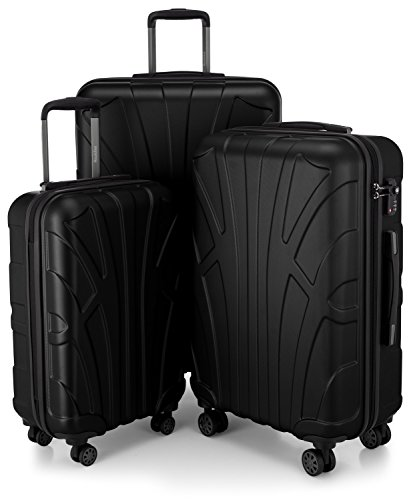Suitline 3er Koffer-Set Trolley-Set Rollkoffer Hartschalen-Koffer Reisekoffer, TSA, (55 cm, 66 cm, 76 cm), 100{e48301cac252b3e8acbd8fcd324ae8c52322bfde9e73b5df1eb86ea54a884bce} ABS, Matt, Schwarz