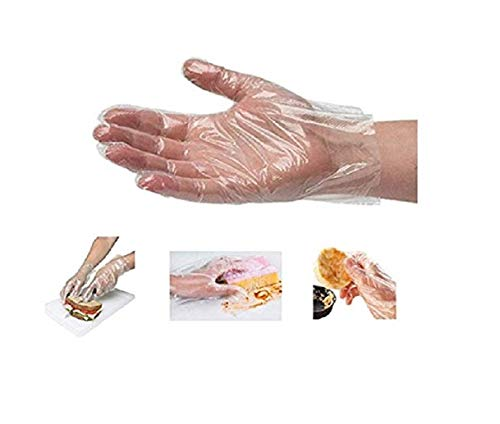 (200 Sheets) Powder Free & Latex Free Clear Disposable Food Plastic High Density Polyethylene Gloves Sterile Disposable Safety Gloves 200 Sheets/2 Packs