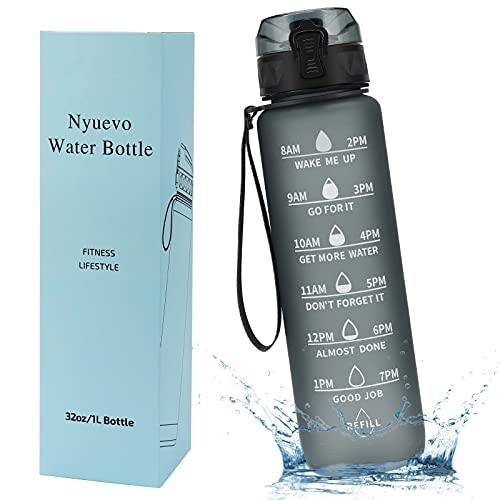 Nyuevo 1L Motivationswasserflasche, Auslaufsichere Trinkflasche, BPA Freie Sportwasserflasche aus Tritan, Hoch Temperaturbeständige Wasserflasche mit Zeitmarke für Fitness und Outdoor