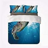 Qoqon Juego de Funda nórdica Juego de 3 sábanas Turtle Warm, Tortuga Carey Sumérgete en el océano Azul contra los Rayos solares para la habitación
