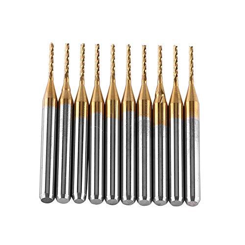 Akozon Schaftfräser Titanium Coat Hartmetall Schaftfräser,10 Stück Gravur Bits Fräser 3.175mmx1mm CNC PCB Gravur Bit Set Stich-Spitzen Frässtifte