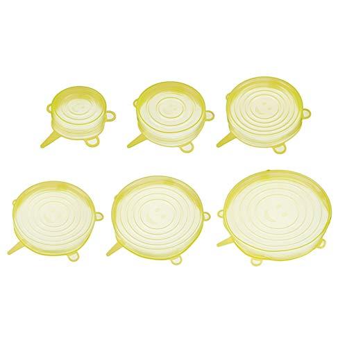 6 PCS Alimentos de silicona Tapa de mantenimiento de frescos Copa Reutilizable Copa de fruta Herramientas de cocina de utensilios de cocina Cubierta de utensilios de cocina Mantenga las tapas frescas