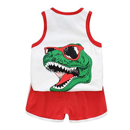 Fossen Ropa Bebe Niño Verano Camiseta sin Mangas a Rayas y Pantalones Cortos para Recién Nacidos Niña Niño (2 Años, Rojo)