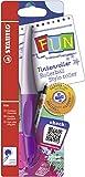 Ergonomischer Tintenroller - STABILO FUN in lavendel lila/pastell lila - inklusive 2 Aufkleberkarten zum Sammeln - Schreibfarbe blau (löschbar)