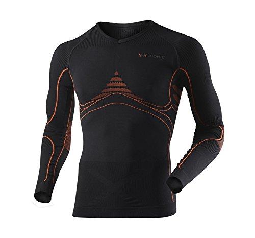X-Bionic Energy Accumulator T-Shirt Manches Longues Homme, Noir/Orange, FR : S/M (Taille Fabricant : S/M)