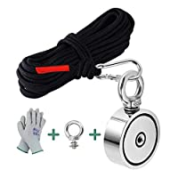 MHDMAG Double Sided Fishing Magnet with 65FT Rope and Gloves. 600lbs Combined Pulling Force Retrieval Magnet Fishing Kit with Neodymium Rare Earth Magnet Heavy Duty for Fishing and Salvage Underwater.