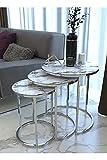 SHUJINGNCE Table Basse Verre en marbre Blanc argenté 3 pièce pour Salon