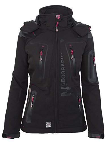Geographical Norway - Giacca da donna in softshell, con cappuccio rimovibile Nero XL
