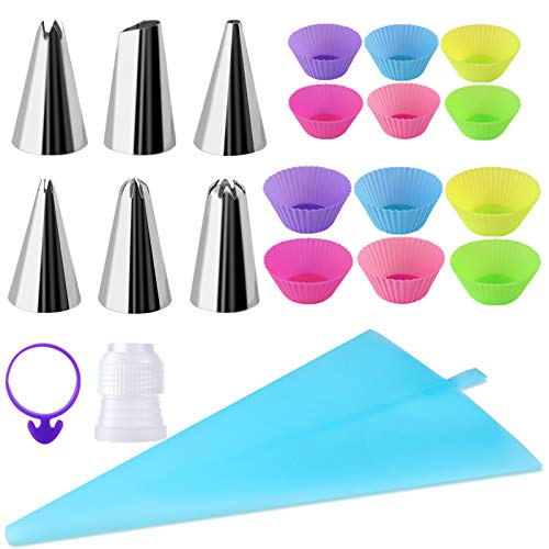 Mukum 21Pcs Piping Set Piping Bag Cake Decorating Tips Cupcake Baking Cup Pastry Bags Reusable Coupler Frosting Bags Tie
