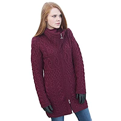 100% Irish Merino Wool Double Collar Aran Knit Coat, Wine, Medium from