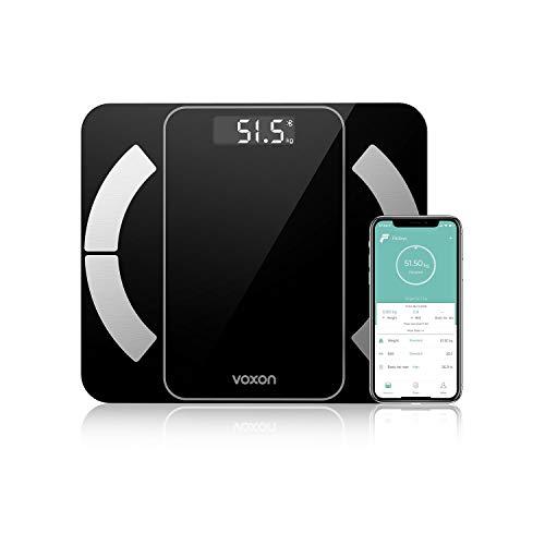 VOXON Smart-Waage, Personenwaage hochpräziser Gesundheitsanalysator mit Bluetooth Personenwaage Smartphone-App für Fitness-Tracking 180 kg
