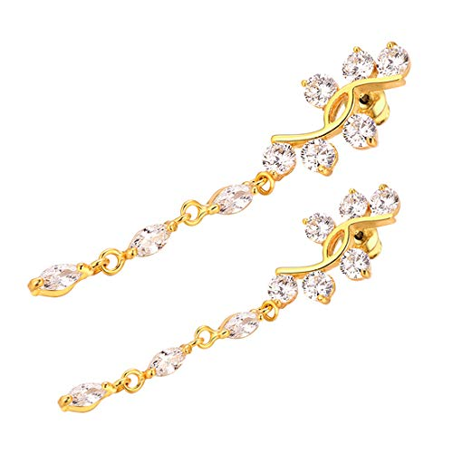 Belly Rings Piercing Jewelry Women Cubic Zirconia Dangle Navel Ring,2 Pcs Set (1 18k Gold,1 Platinum Plated)