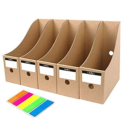 MYEUSSN File Magazine Holder,Cardboard Magazine Holder,Book Rack Lever Arch File Folder Divider Document Stationery Storage Box Simple Style Files Filling Rack Box 5Pcs/Pack