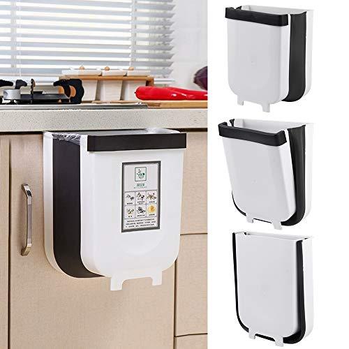 JULY'S SONG Basurero Colgante Basura Cubos de Basura Plegable Cocina Contenedor Extraible Pequeño Bote de Basura Adecuado para Automóvil Cocina Sala de Estar Baño Dormitorio (Capacidad 6L)