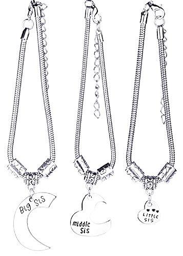 Drie vrouwelijke armbanden - vrouw - x 3 - voor 3 - - zussen - maan - hart - origineel cadeau-idee - verjaardag - kerstmis - zilver big sis little sis middle sis