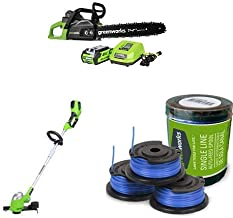 Greenworks 40V Cordless Chainsaw, 2.0 AH Battery Included with Cordless String trimmer/Edger, Battery Not Included 21332 and Single Line String Trimmer Replacement Spool 3-Pack