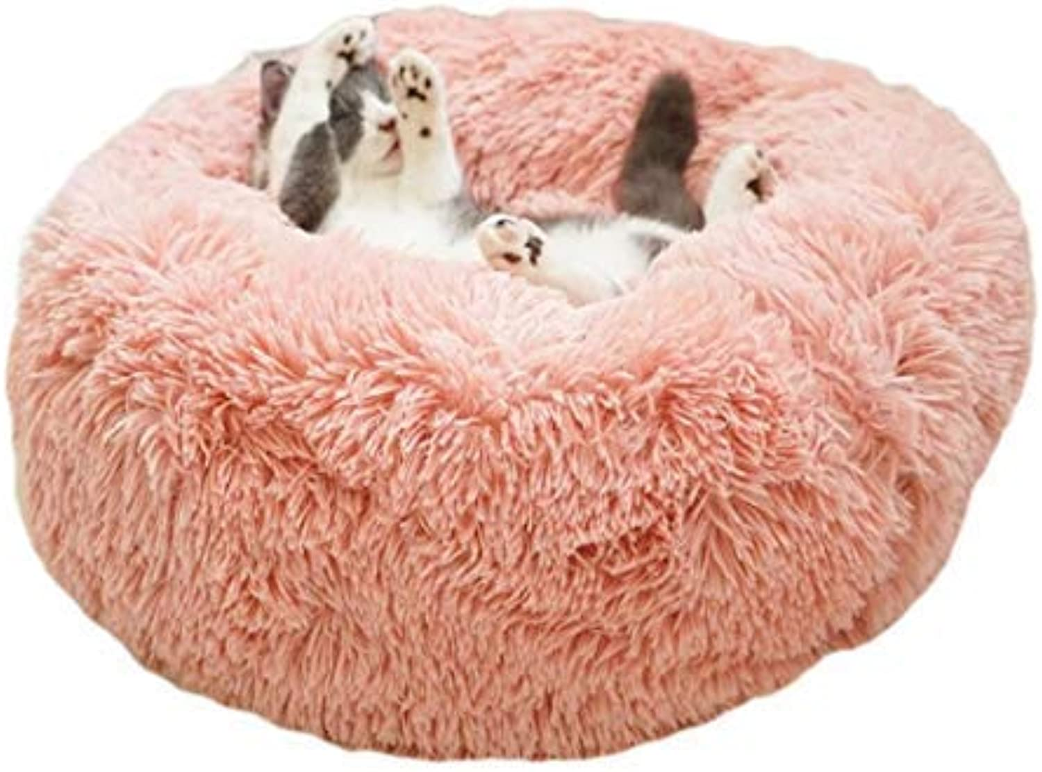 ALLNEO Luxury Shag Fuax Fur Donut Cuddler Round Donut Pet Bed Faux Fur Dog Beds for Medium Small Dogs  Self Warming Indoor Round Pillow Cuddler