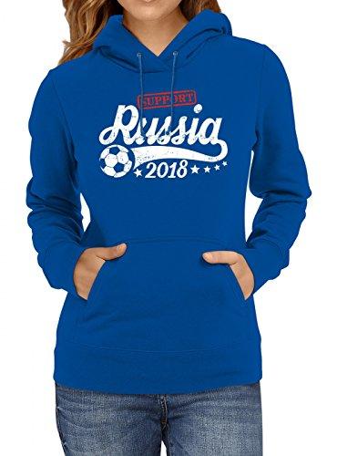 Shirt Happenz Russland Weltmeisterschaft 2018#25 Premium Hoodie Fan Trikot Fußball Weltmeisterschaft Nationalmannschaft Frauen Kapuzenpullover, Farbe:Blau;Größe:XL