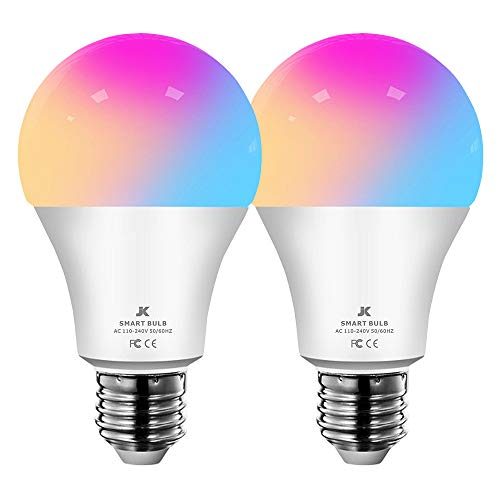 A19 Soft White Smart Led Bulbs Alexa Dimmable E27 WiFi Multicolor Led Light Bulb Works with Google Home Assistant No Hub Require 100 Watt Equivalent 1000 Lumen 2 Pack