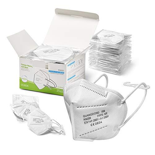 25 Mascherine FFP2 Certificate CE Adulti BFE ≥96% Mascherine Sanificate e Sigillate Singolarmente con Clip per la Nuca, Elastici Morbidi e Imbottitura Naso, Face Mask Protettiva