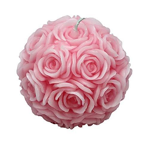 Wohnsinn Candela a Forma di Palla di Rosa, con Rosa in Rilievo, Candela Decorativa, Color Rosa, Fatto a Mano in Confezione Regalo Nera, 10x10x9cm