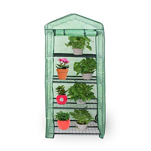 HOMGARDEN 4-Tier Mini Greenhouse Portable Plant Flower Shelf Tent w/PE Cover Roll-Up Zipper Door for Lawn Patio Garden Indoor Outdoors