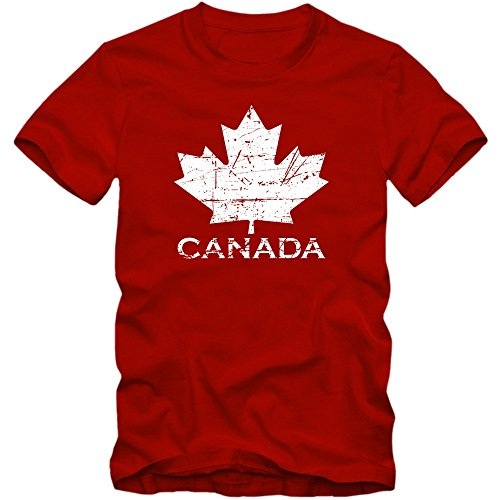 Canadá #1 Camiseta | para Hombre | T-Shirt | Ice Hockey | Can | Hoja De Arce | Vintage | Algodón | Manga Corta | XS-5XL, Couleur:Rot (Red) 01;Taille:Medium