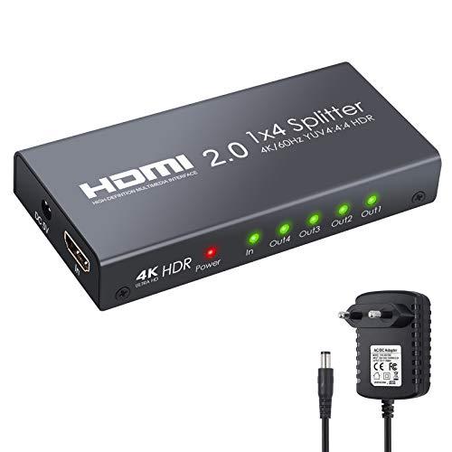 ESYNiC HDMI 2.0 Splitter 4 Vie HDMI Splitter Supporta 4K@60Hz YUV 4:4:4 e HDR con Alimentatore 1 In 4 Out HDMI Splitter Amplificatore per PS4 Pro Sky Box Blu-ray Player HD TV Proiettore